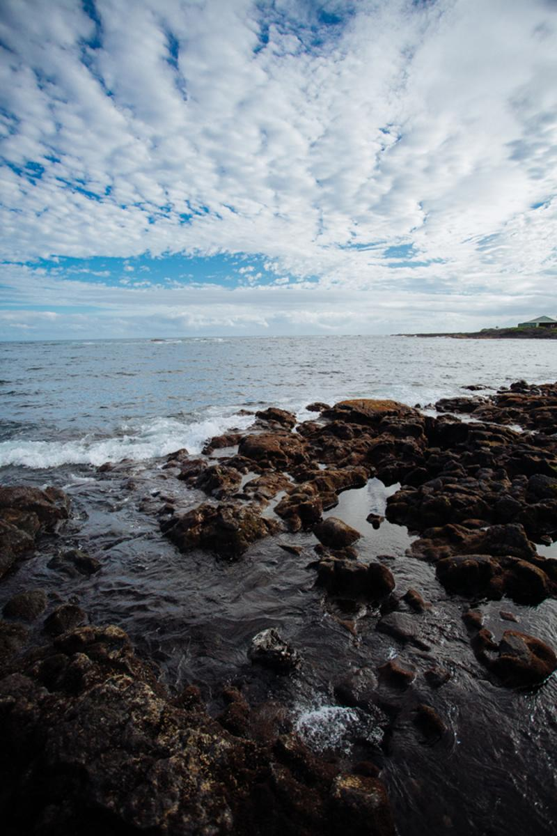 rocky tidepools of a black sand beach in Hawaii