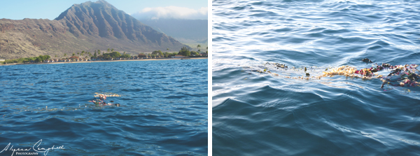 Oahu Hawaii Pokai Bay Hawaiian funeral leis in the ocean