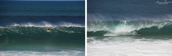 north shore Oahu Hawaii big waves boogieboarder