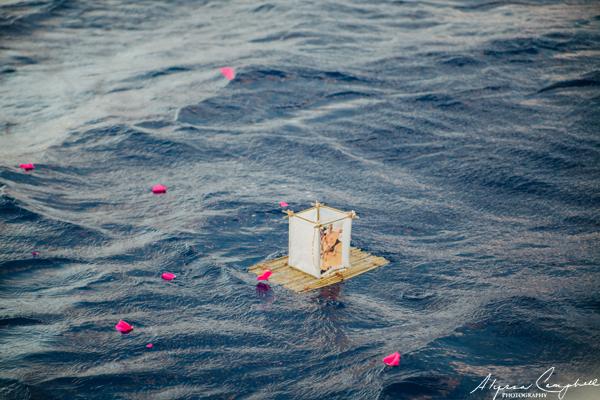 memorial bamboo raft in the ocean