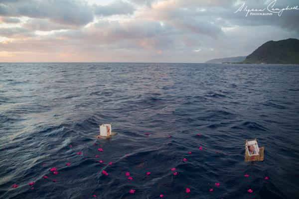 memorial at sea floating bamboo rafts at sunset Oahu Hawaii