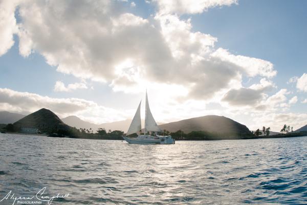 Hawaii sailboat Pokai Bay sunrise