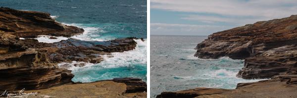 Oahu Hawaii blowhole lava tubes rocky shore waves crashing