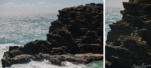 Photographer on dangerous cliffs Oahu Hawaii