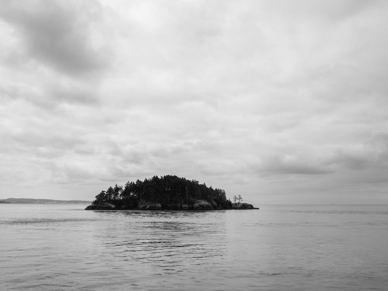 black & white photo of small island off Deception Pass, WA