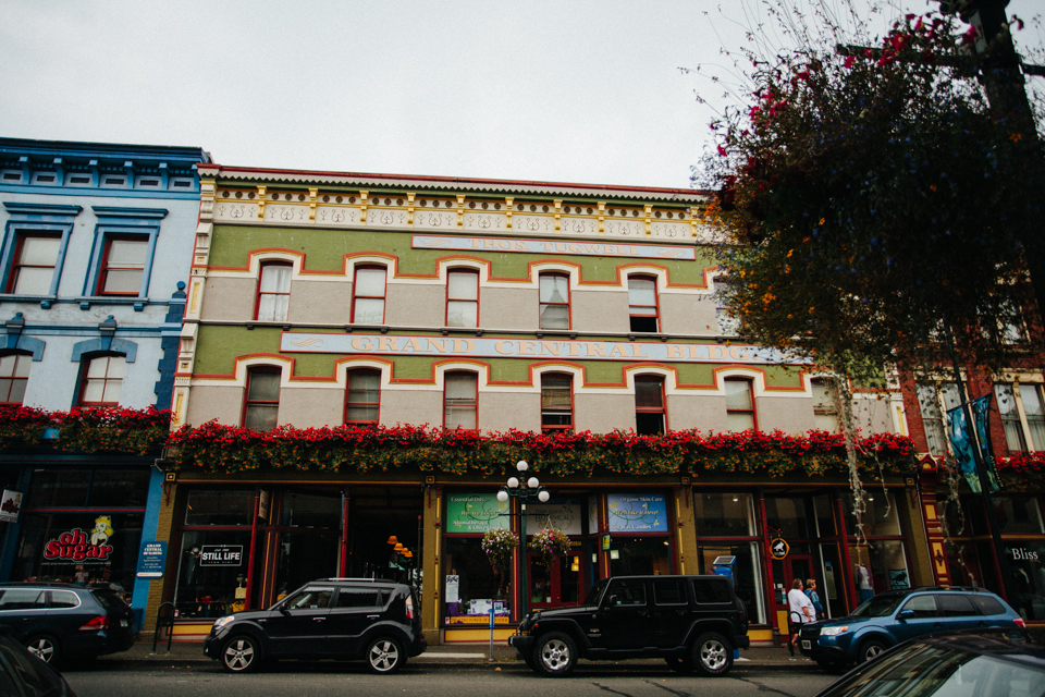 colorful old shop buildings in Victoria, BC Canada