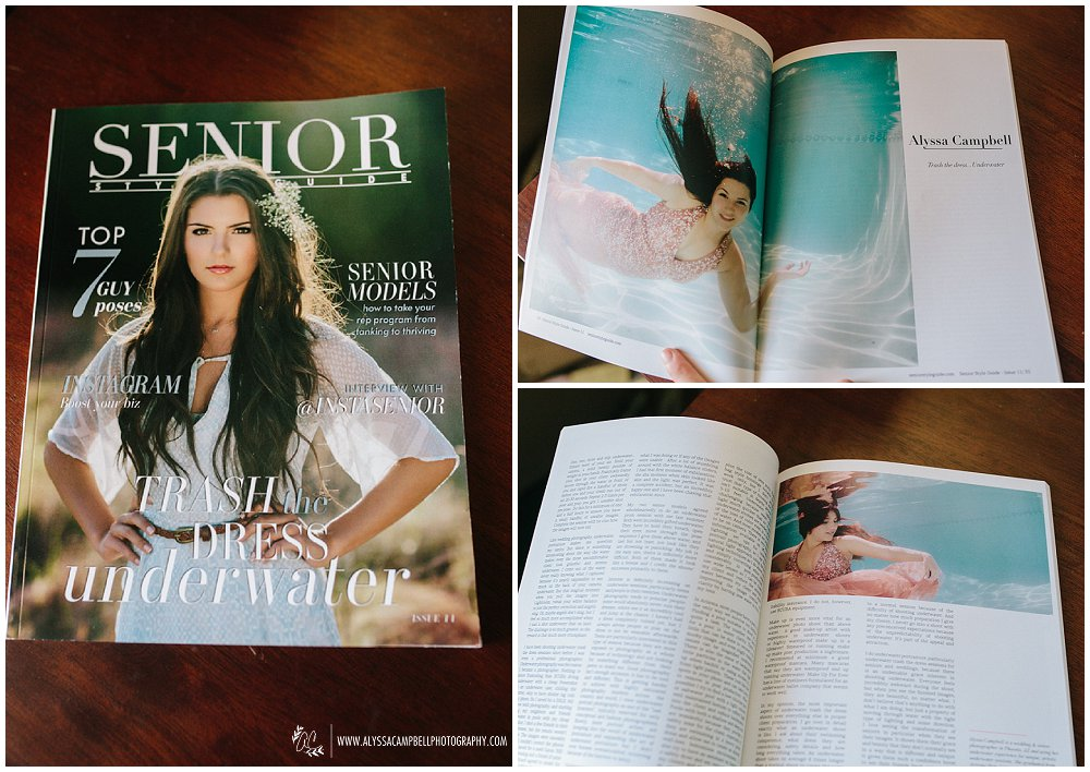 Senior Style Guide issue 11 cover & Trash the Prom Dress Underwater Article by Alyssa Campbell
