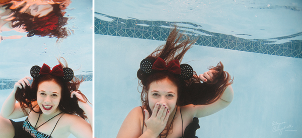 high school senior in mesa arizona underwater senior session with dress and minnie ears