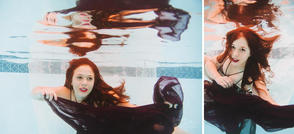mesa arizona high school senior playing with fabric underwater