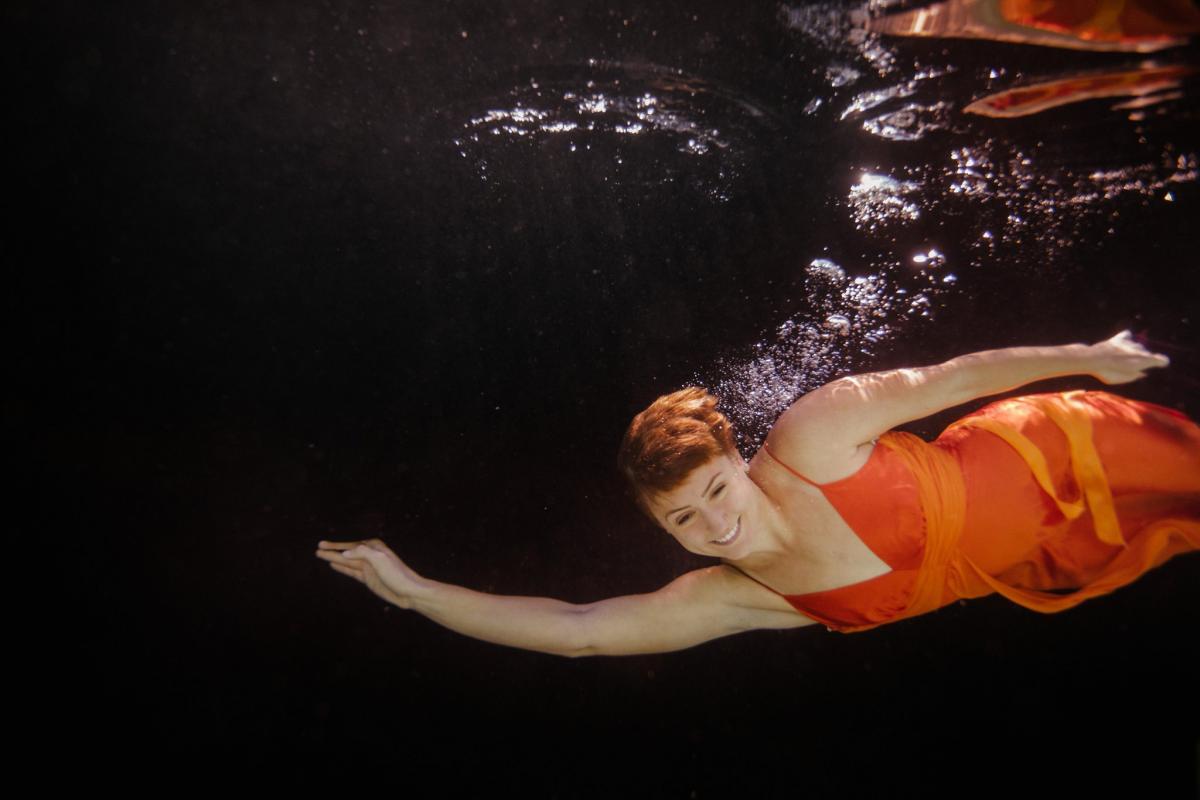 high school senior underwater portraits in dress