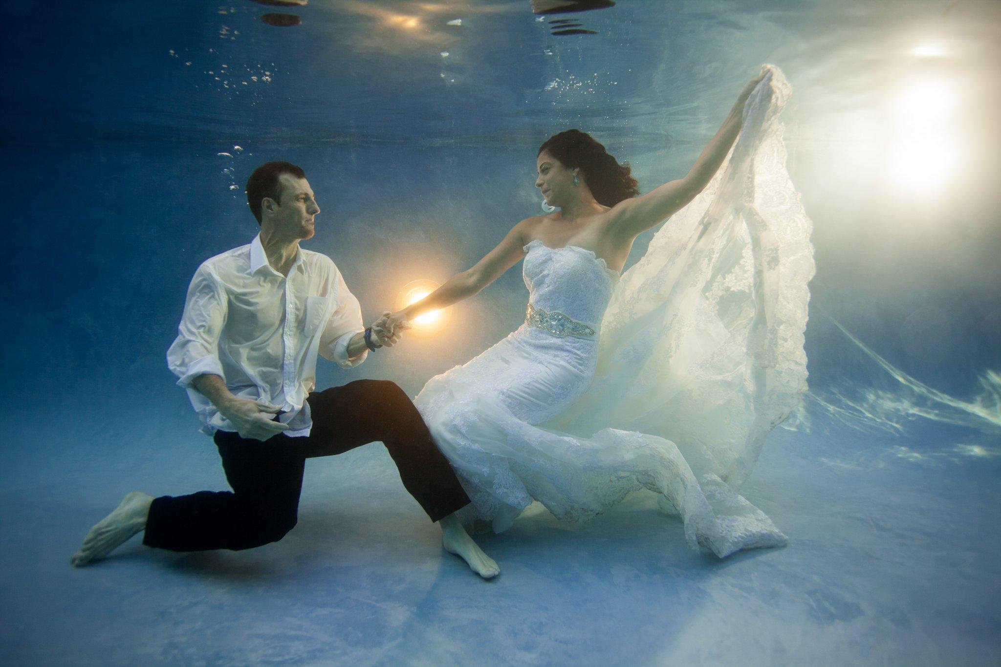 underwater trash the wedding dress in a pool Arizona