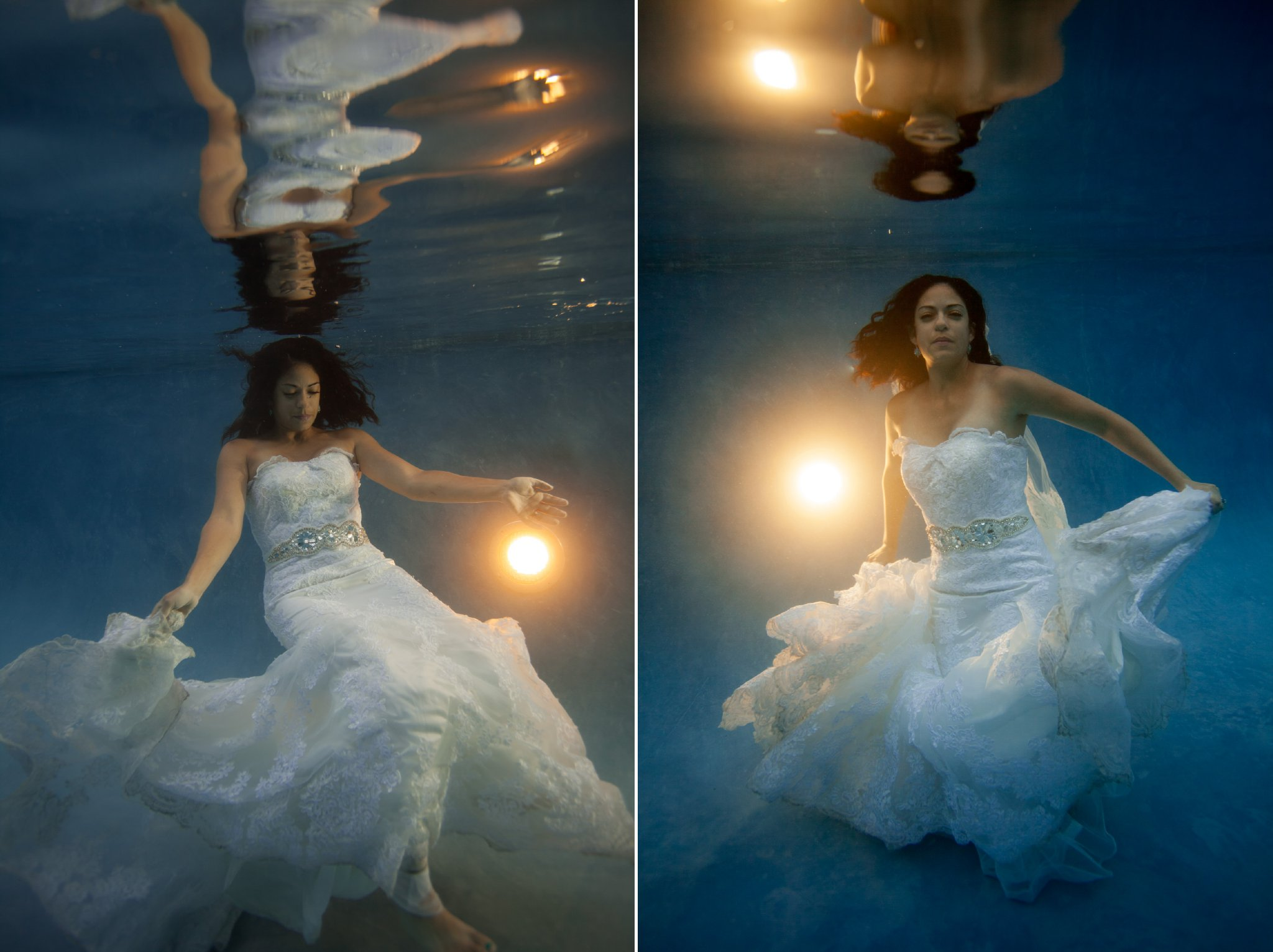 underwater bride in wedding dress by Arizona wedding photographer Alyssa Campbell