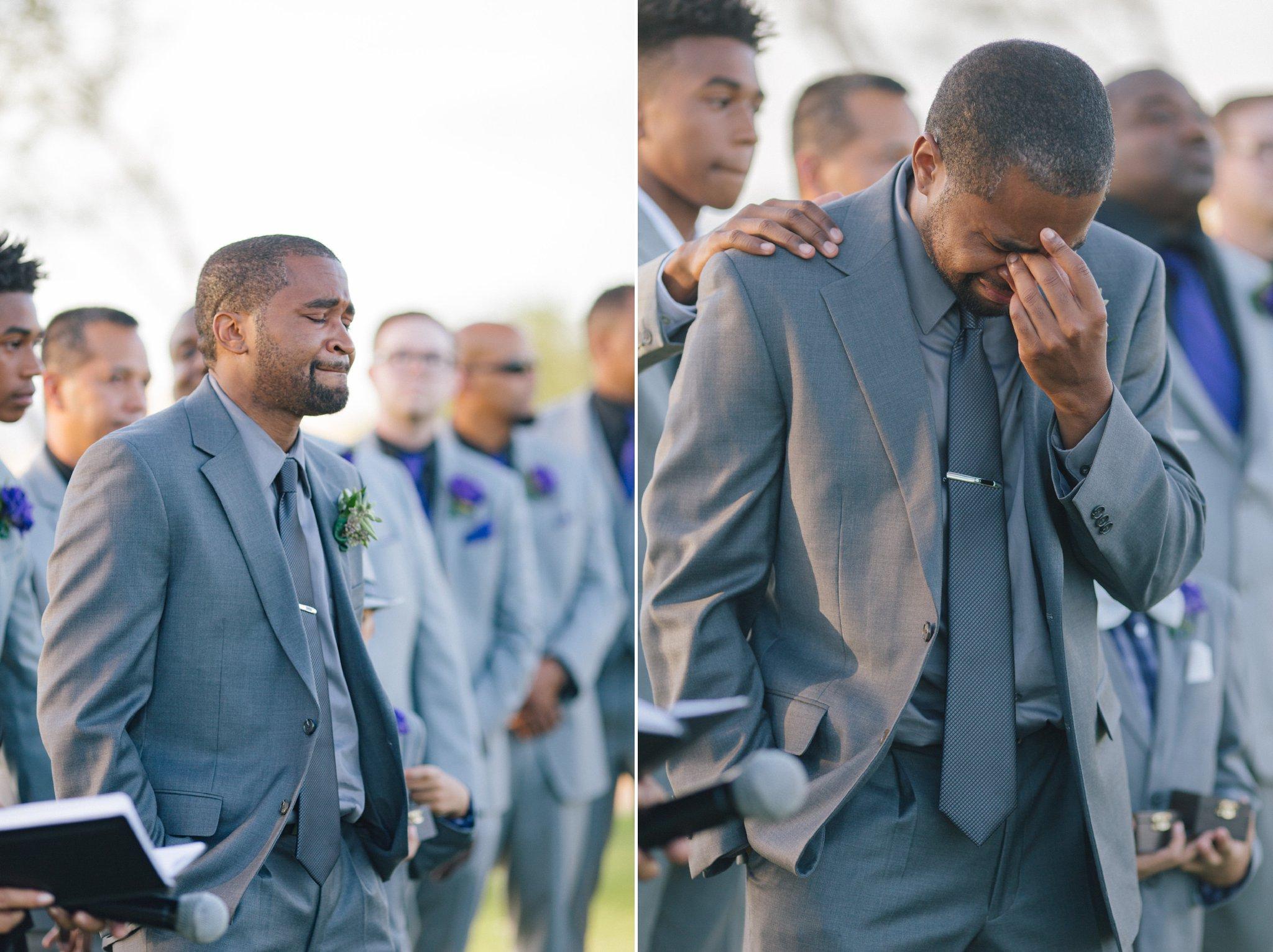 Las Sendas wedding groom crying seeing bride walk down aisle