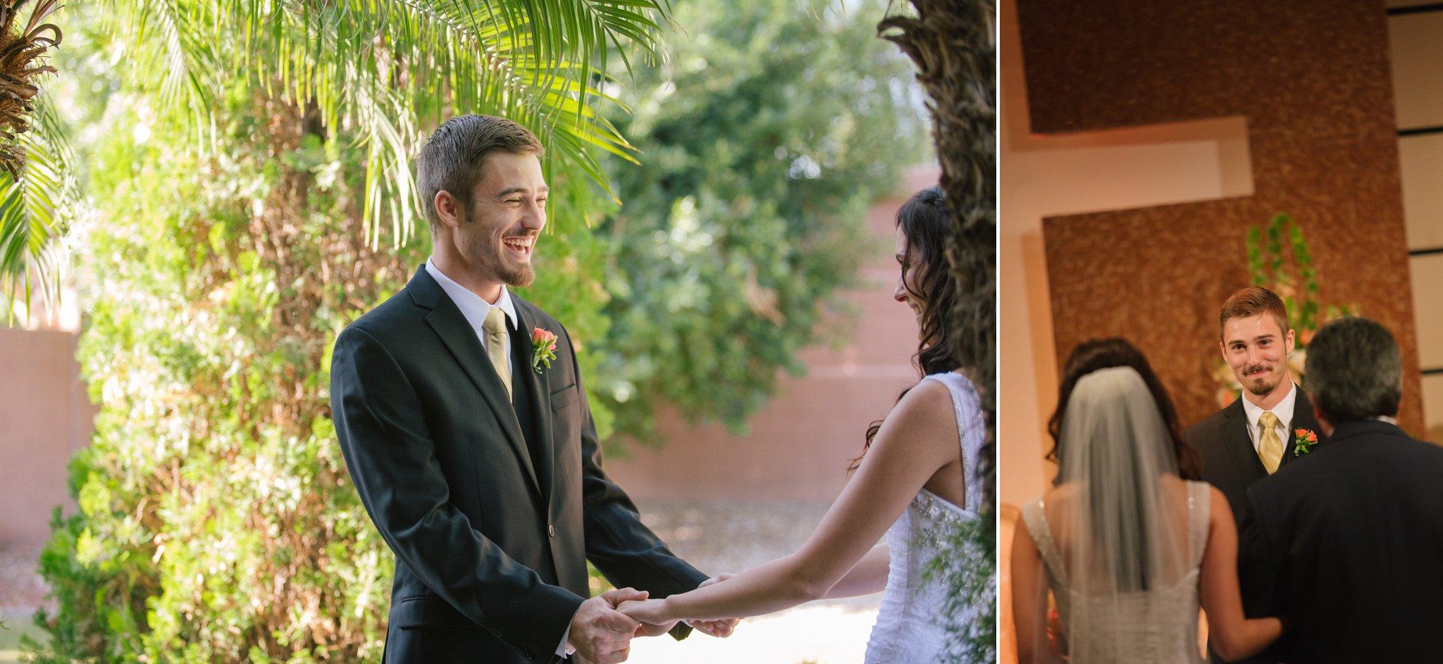 Arizona wedding groom seeing bride