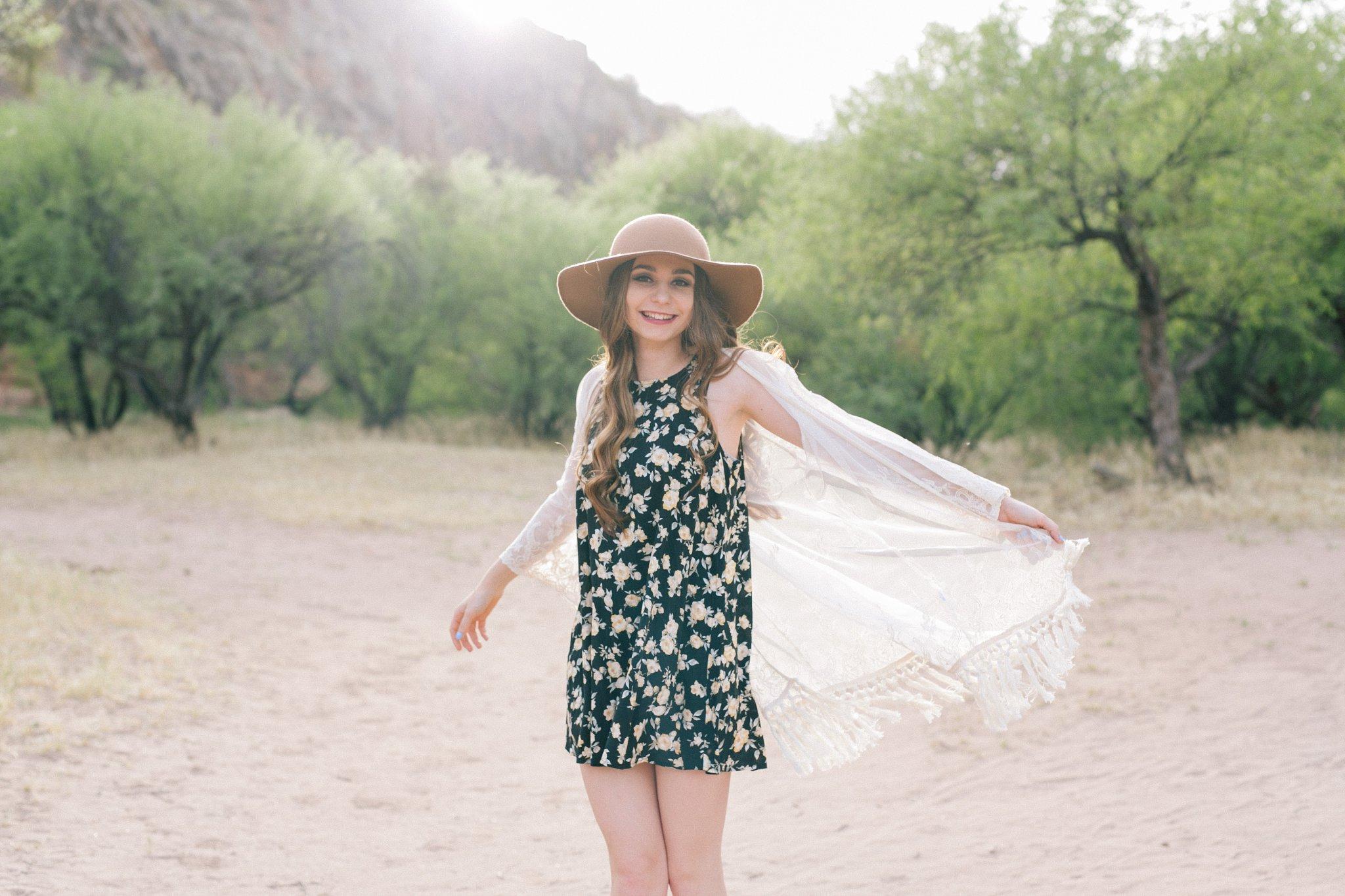 Mesa outdoor natural fun high school senior portraits