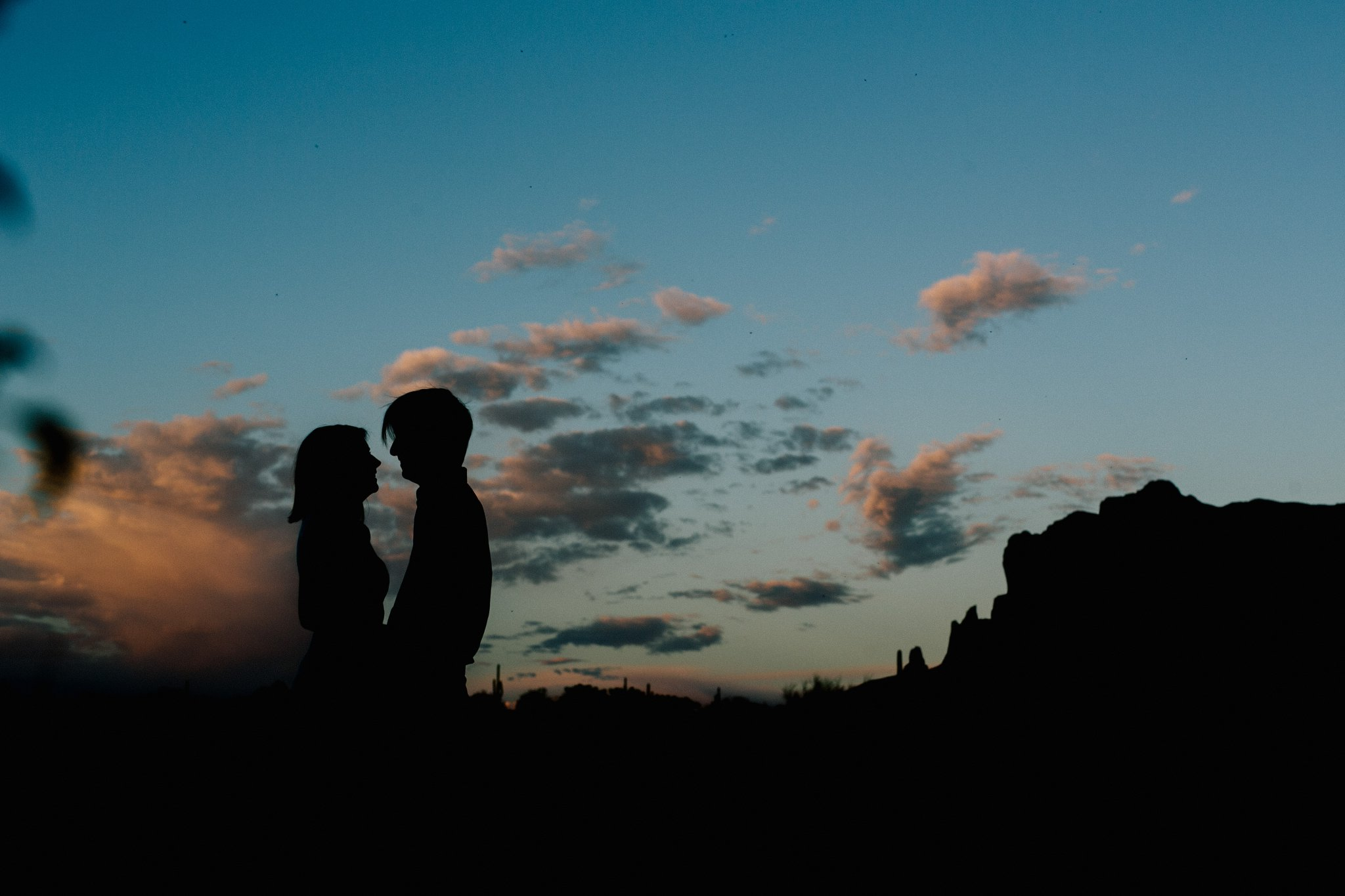 Phoenix engagement photos at sunset near Superstition Mountains