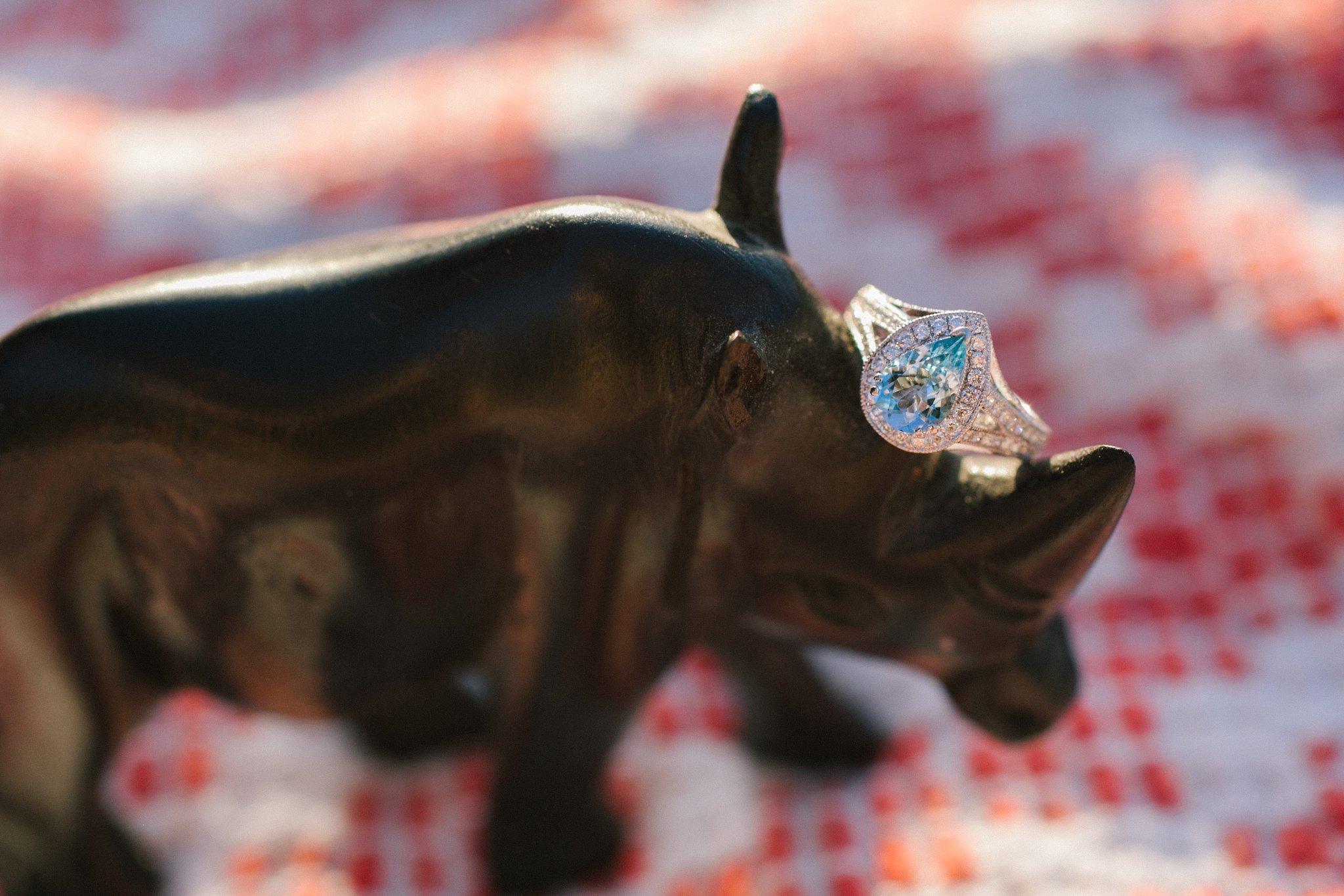 blue topaz pear cut engagement ring Arizona wedding photographer