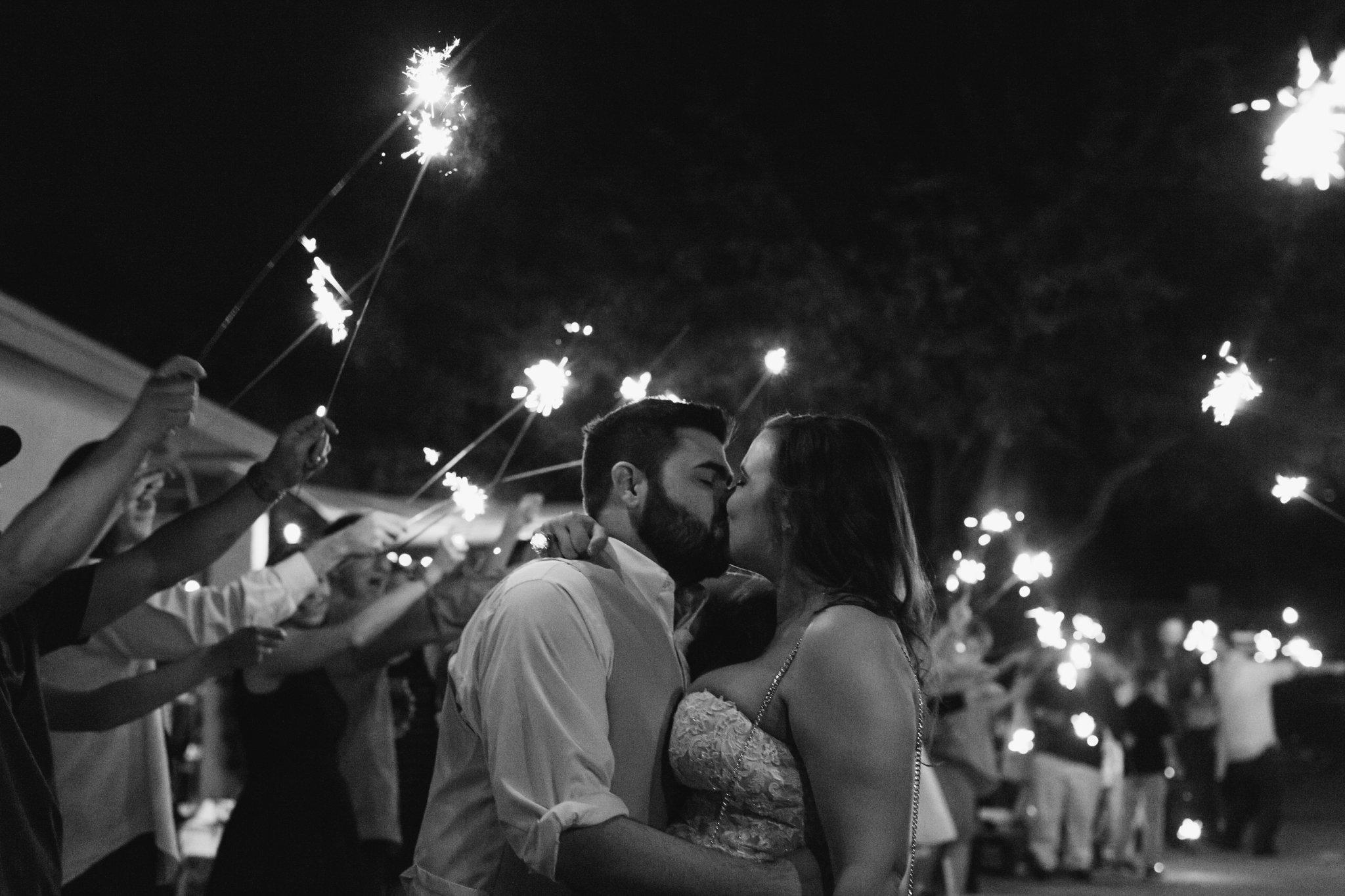 Phoenix backyard wedding sparkler exit