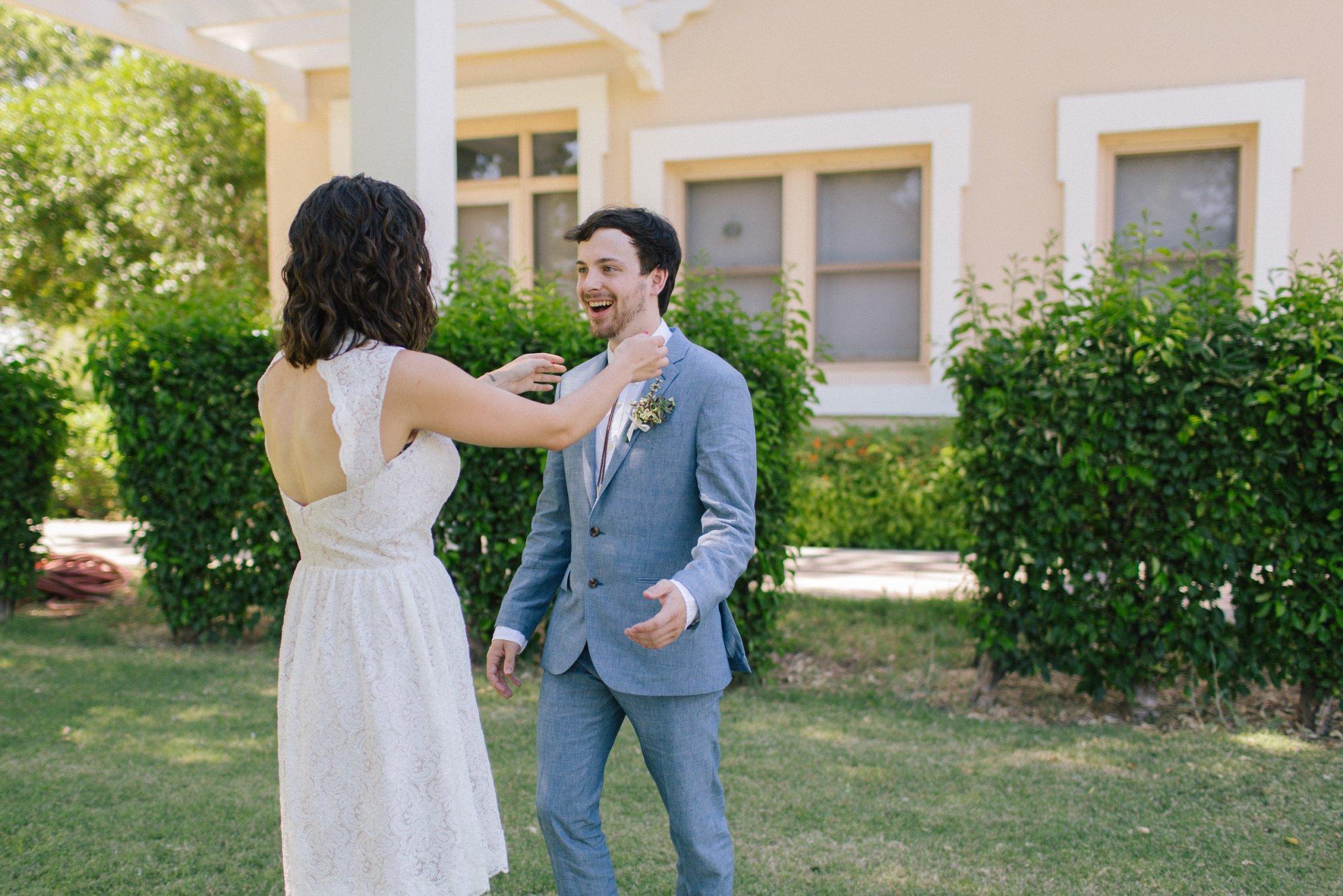 Phoenix summer wedding short wedding dress first look at Norton House