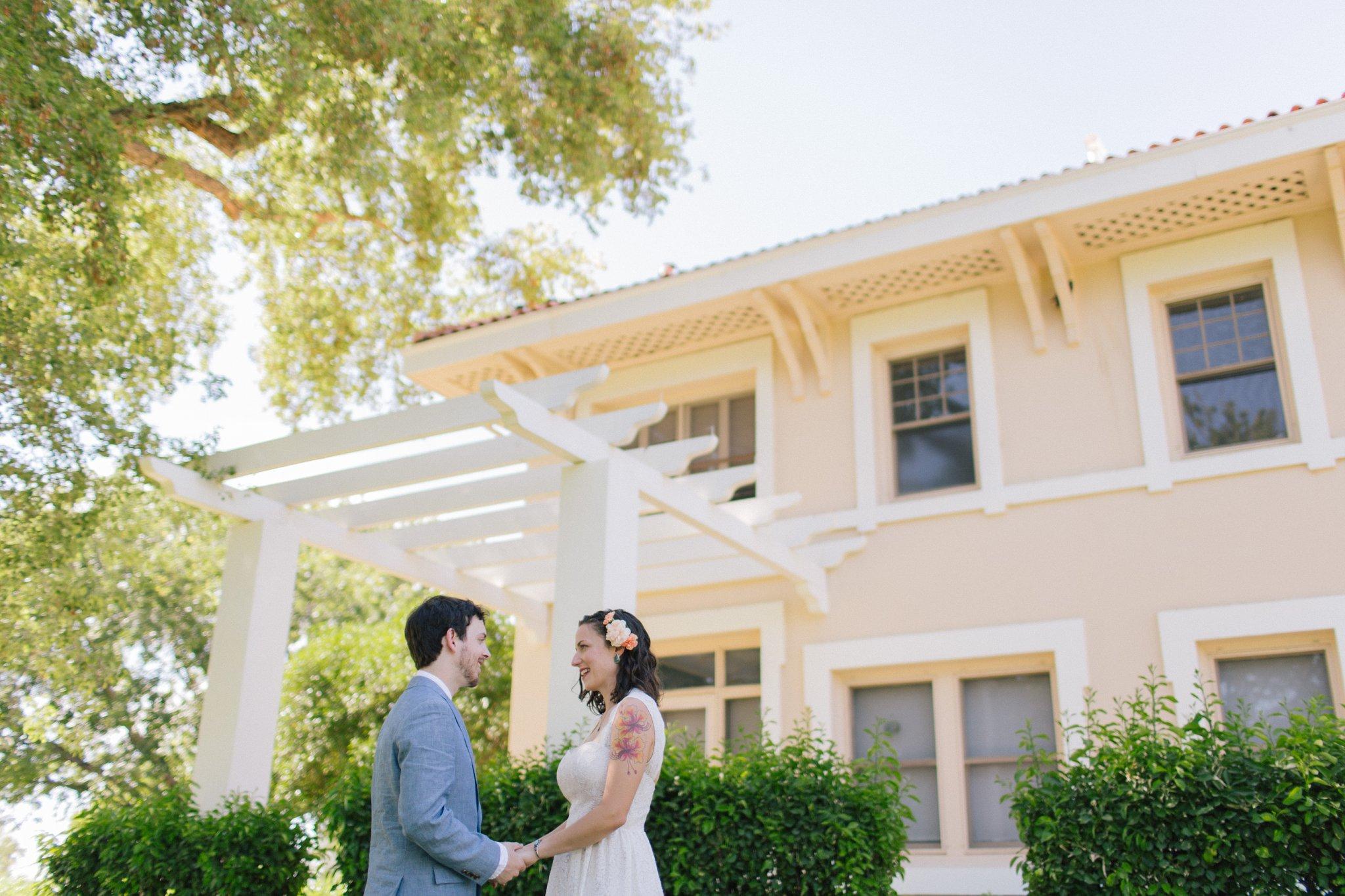 Phoenix bride & groom portraits at Norton House Encanto Park