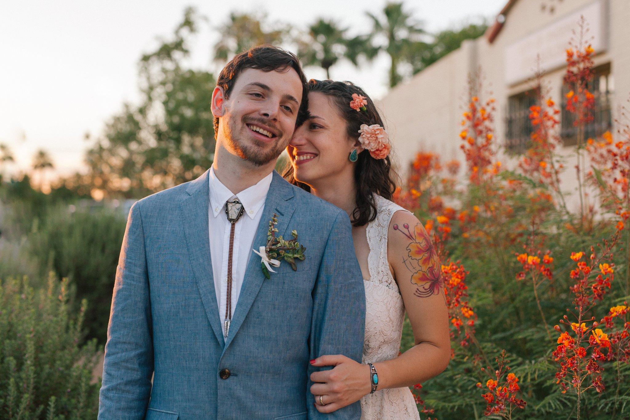 Encanto Park wedding bride & groom natural genuine portraits