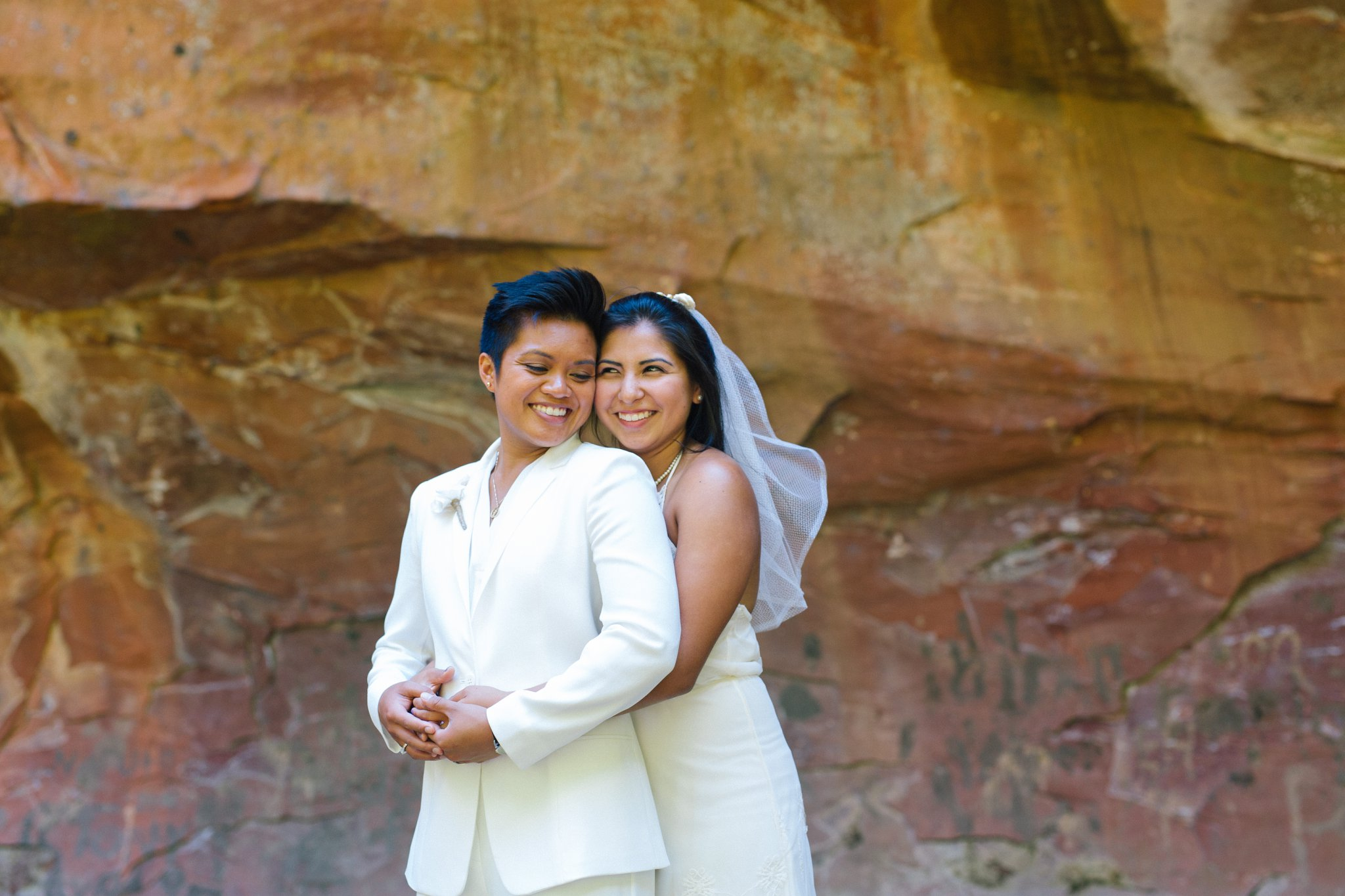 natural authentic portraits lesbian elopement at West Fork Sedona