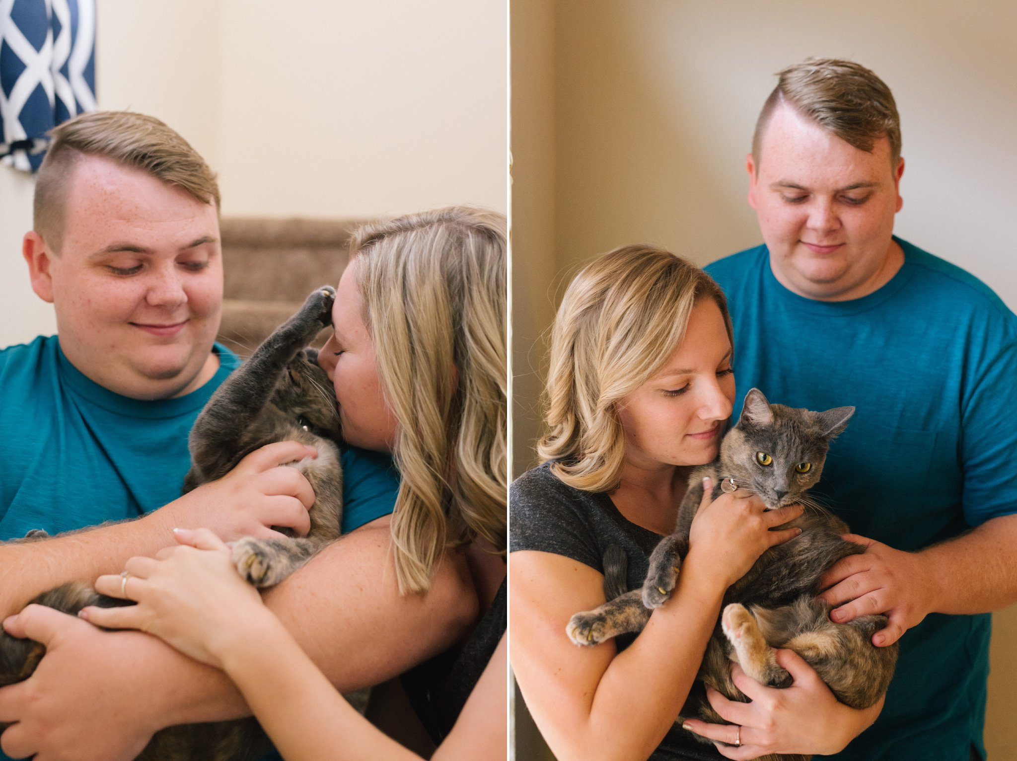 documentary in home engagement photos with a cat in Tempe Arizona