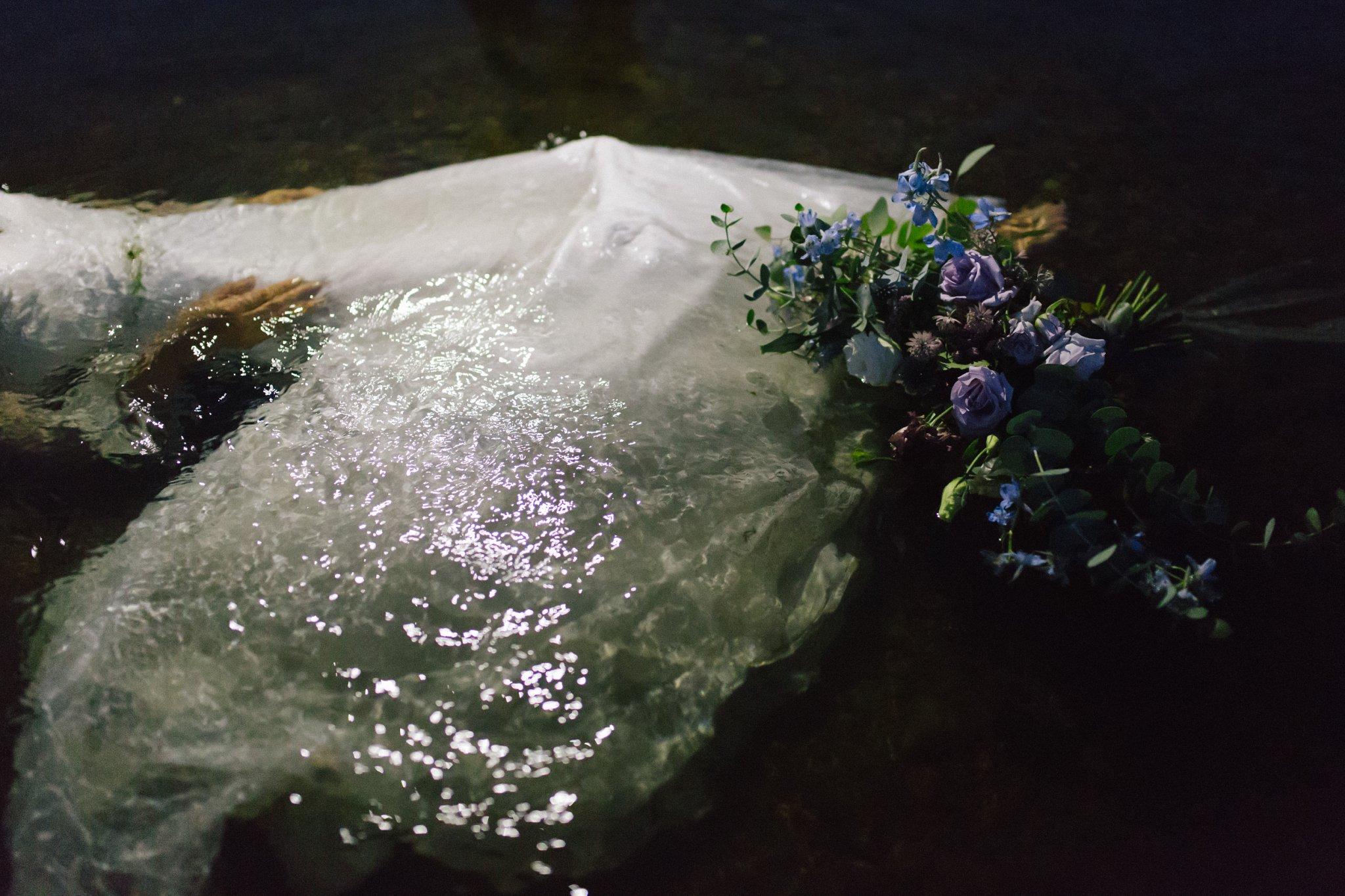 dark romantic adventurous Salt River AZ elopement bride in the water