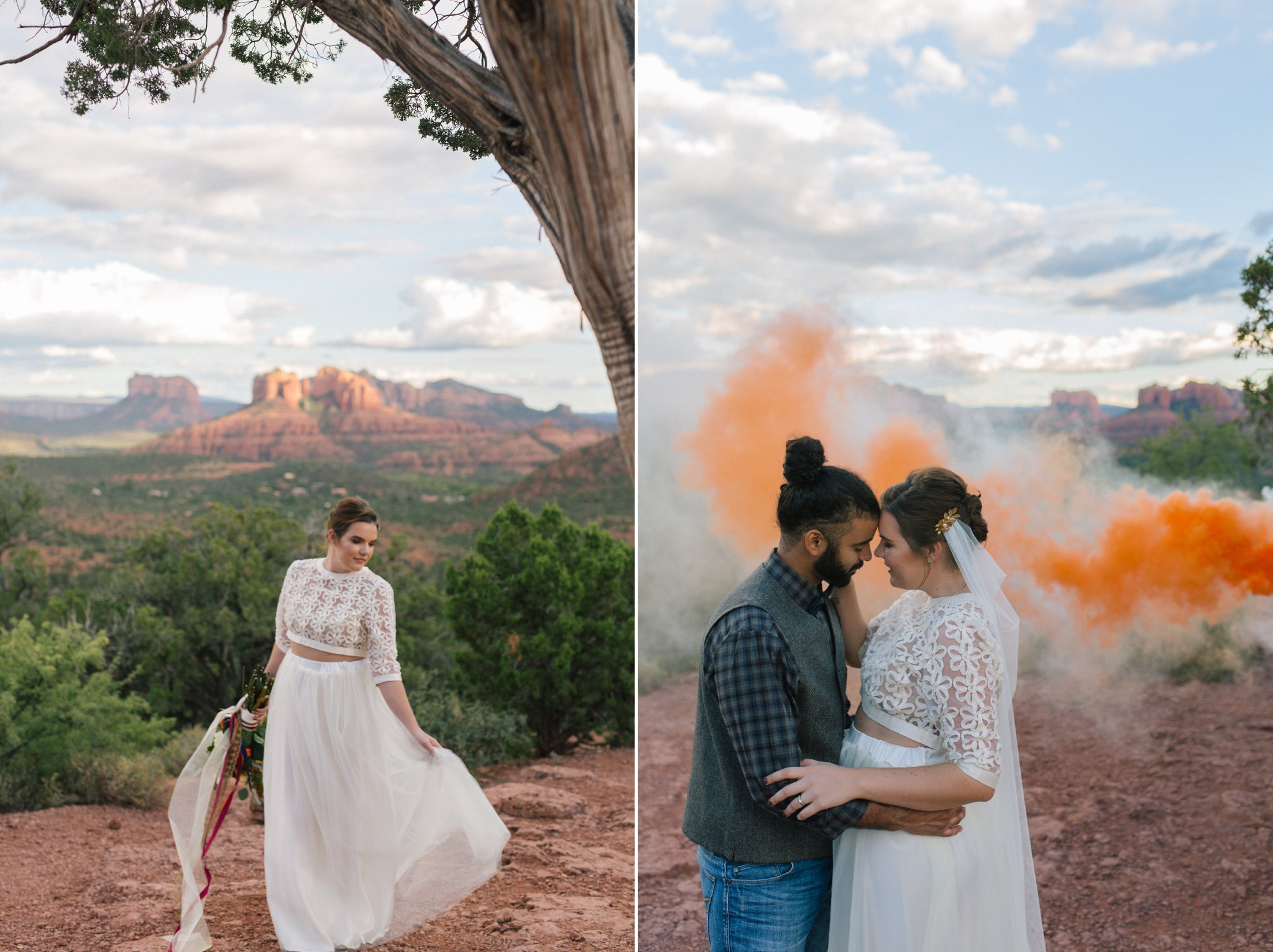 Sedona wedding photos at Lovers' Knoll with smoke bomb
