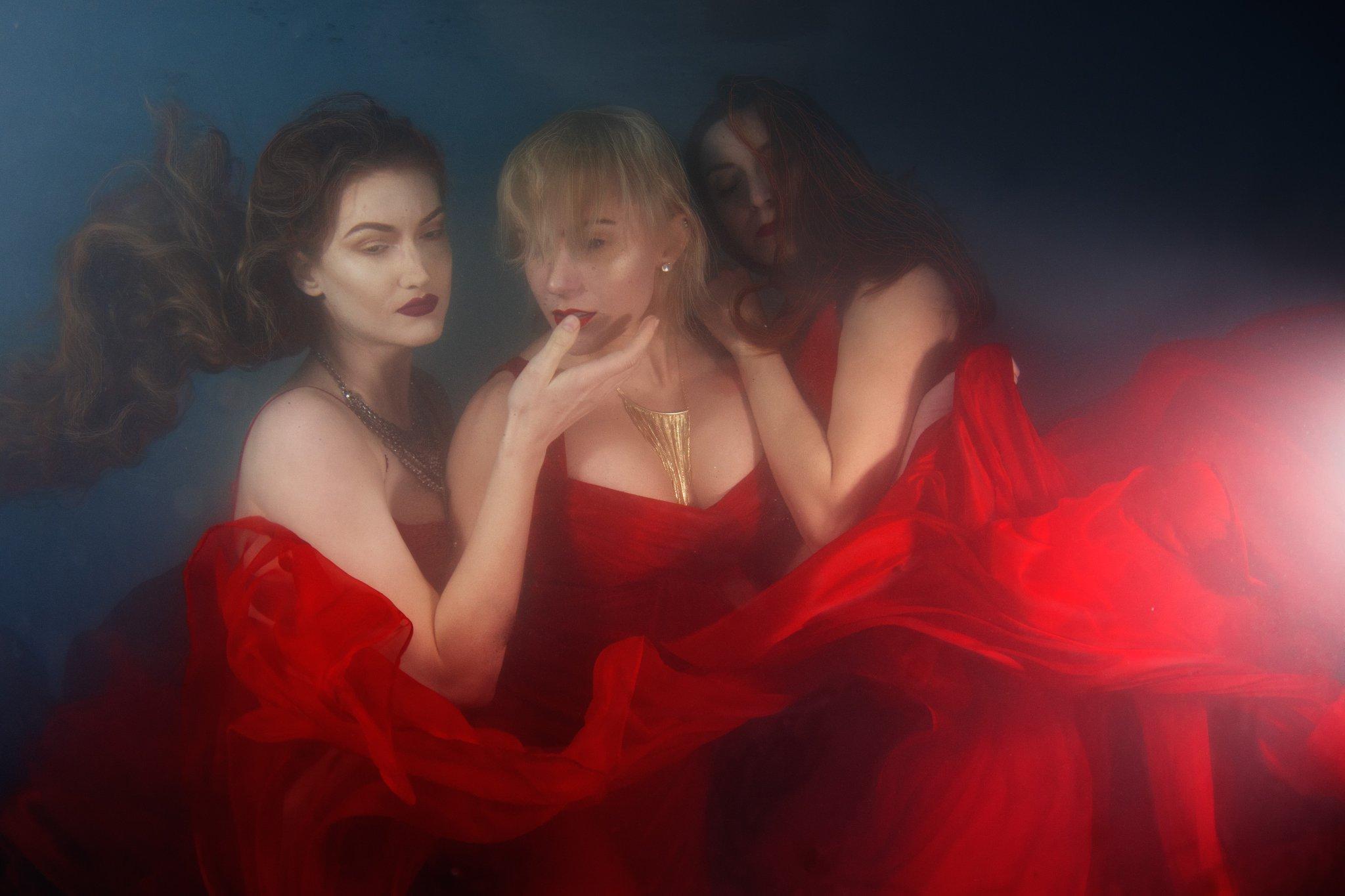 underwater fashion red dresses