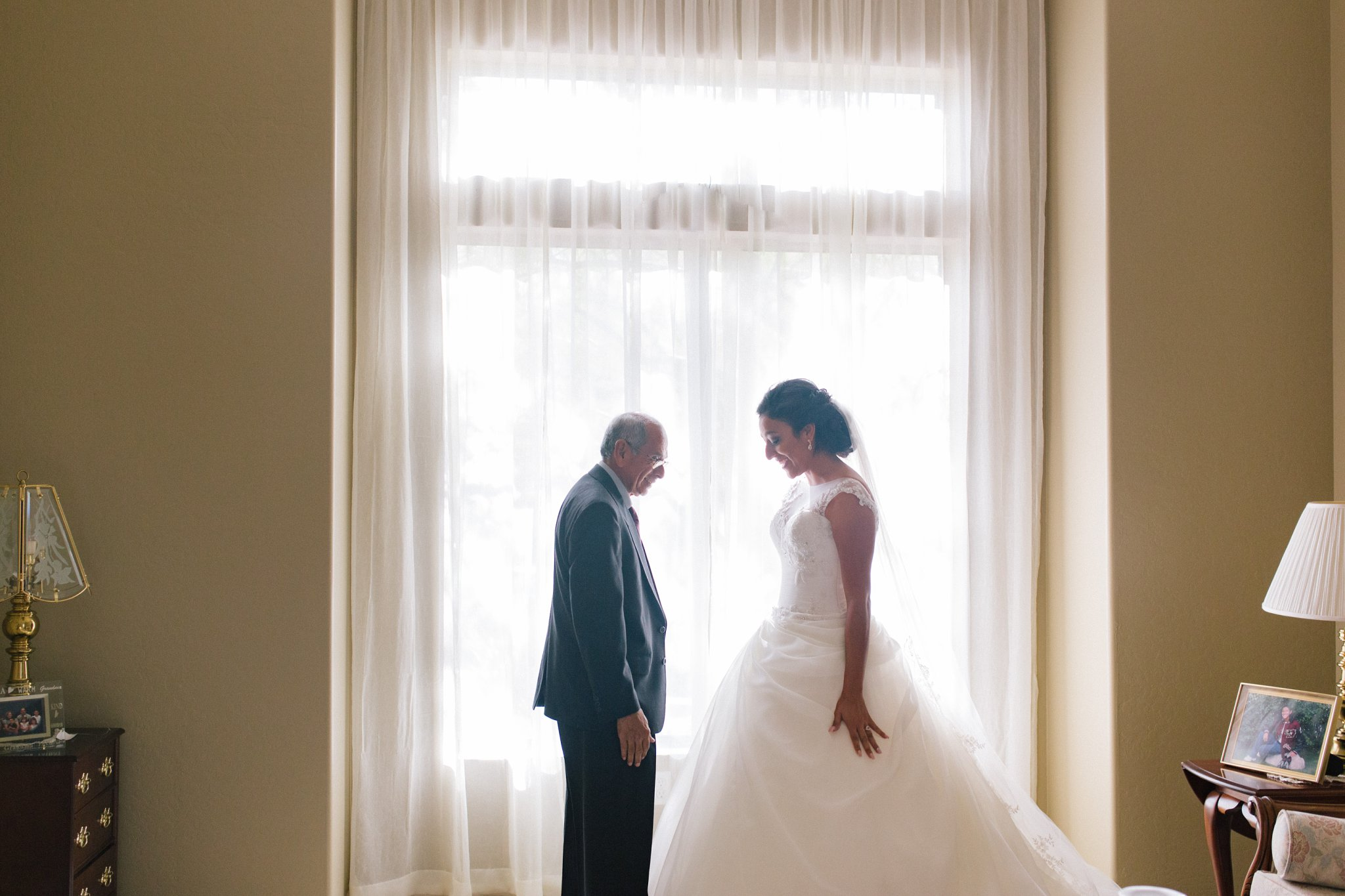 bride & father first look in home Mesa wedding phtoos