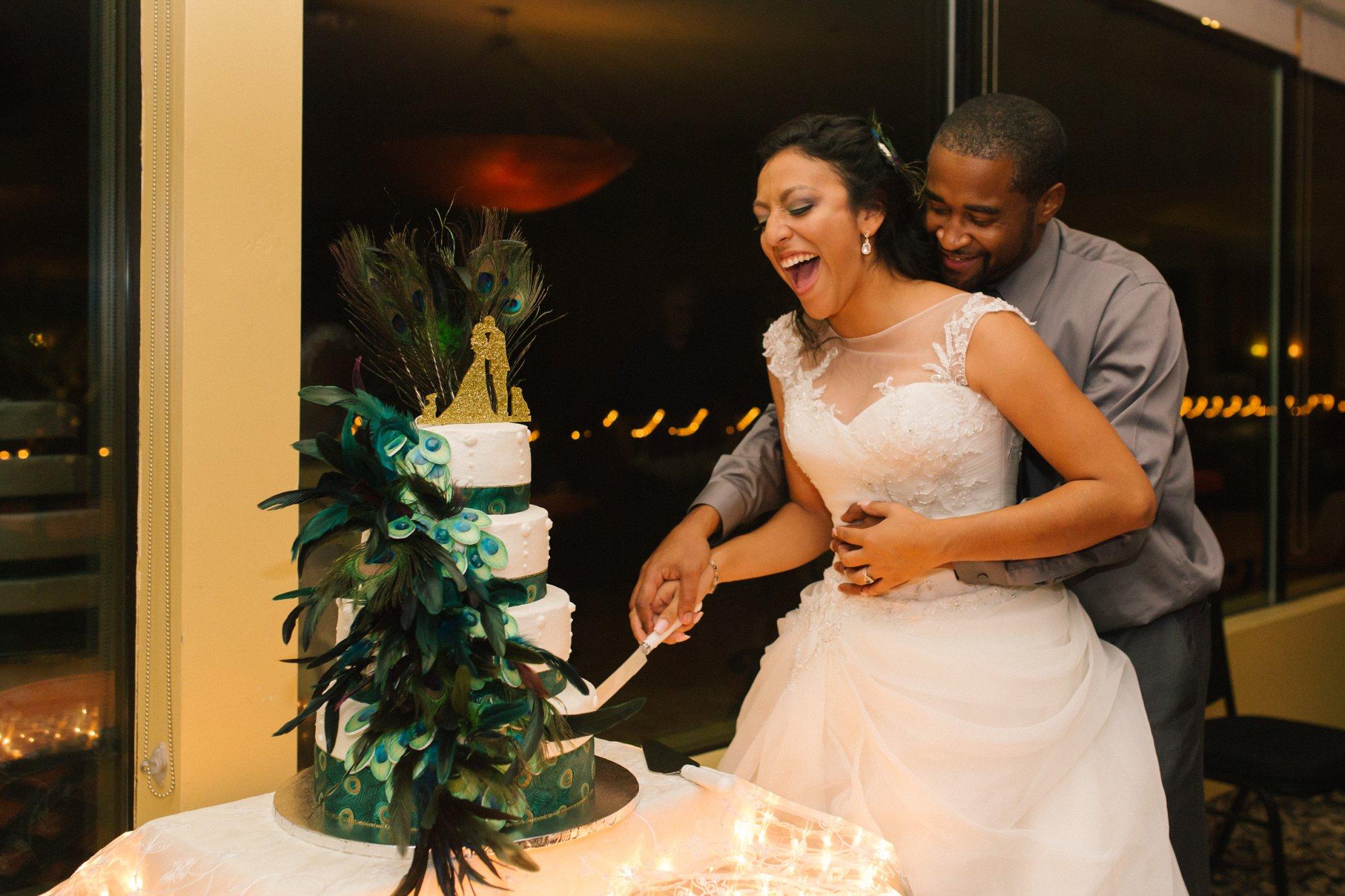 fun joyful cake cutting documentary wedding photography Las Sendas wedding Arizona