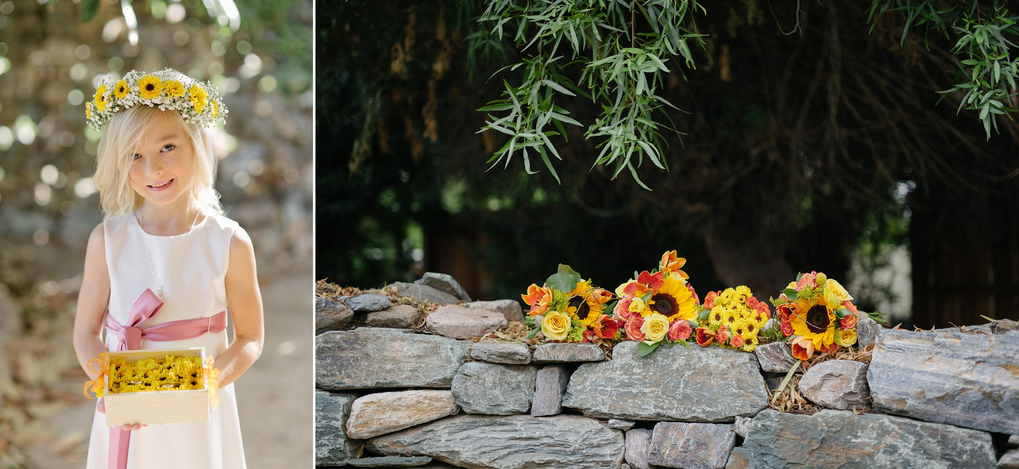 Farm at South Mountain wedding flower girl and colorful flowers