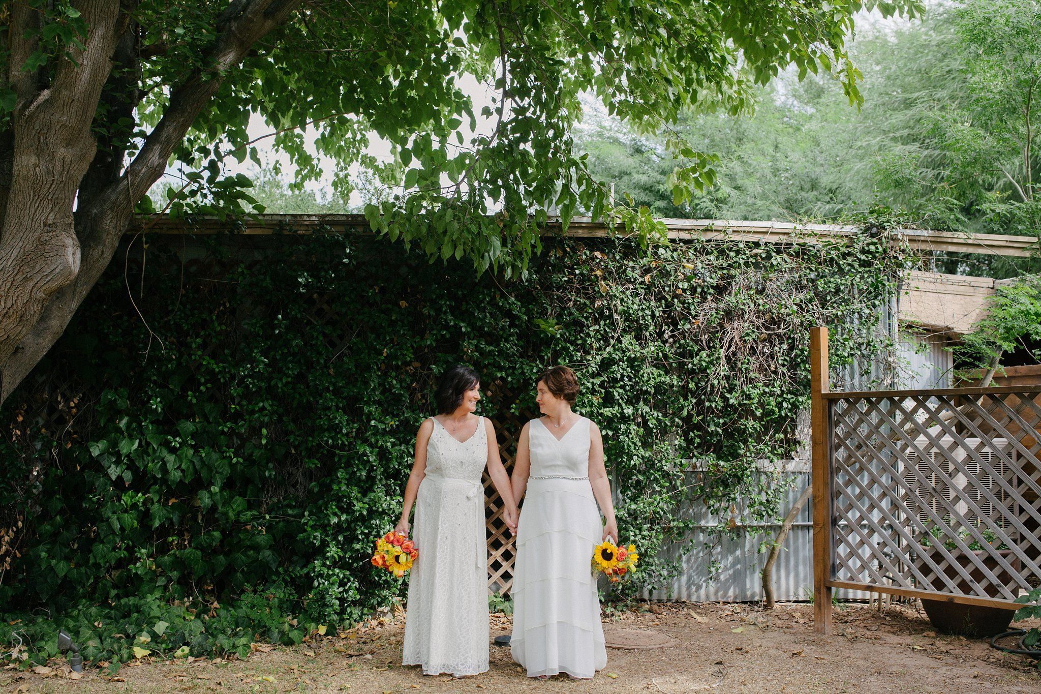 two brides at Farm at South Mountain by LGBT friendly wedding photographer