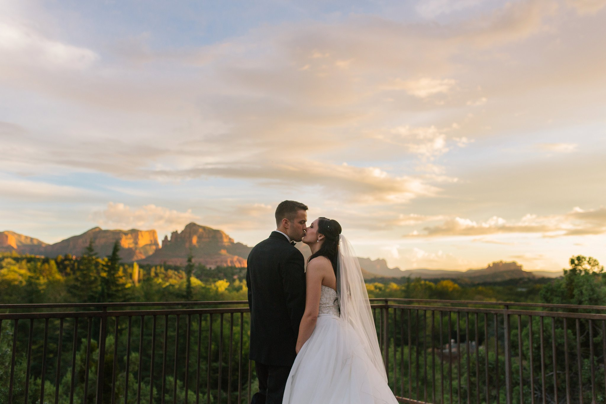 bride & groom married in Sedona at sunset