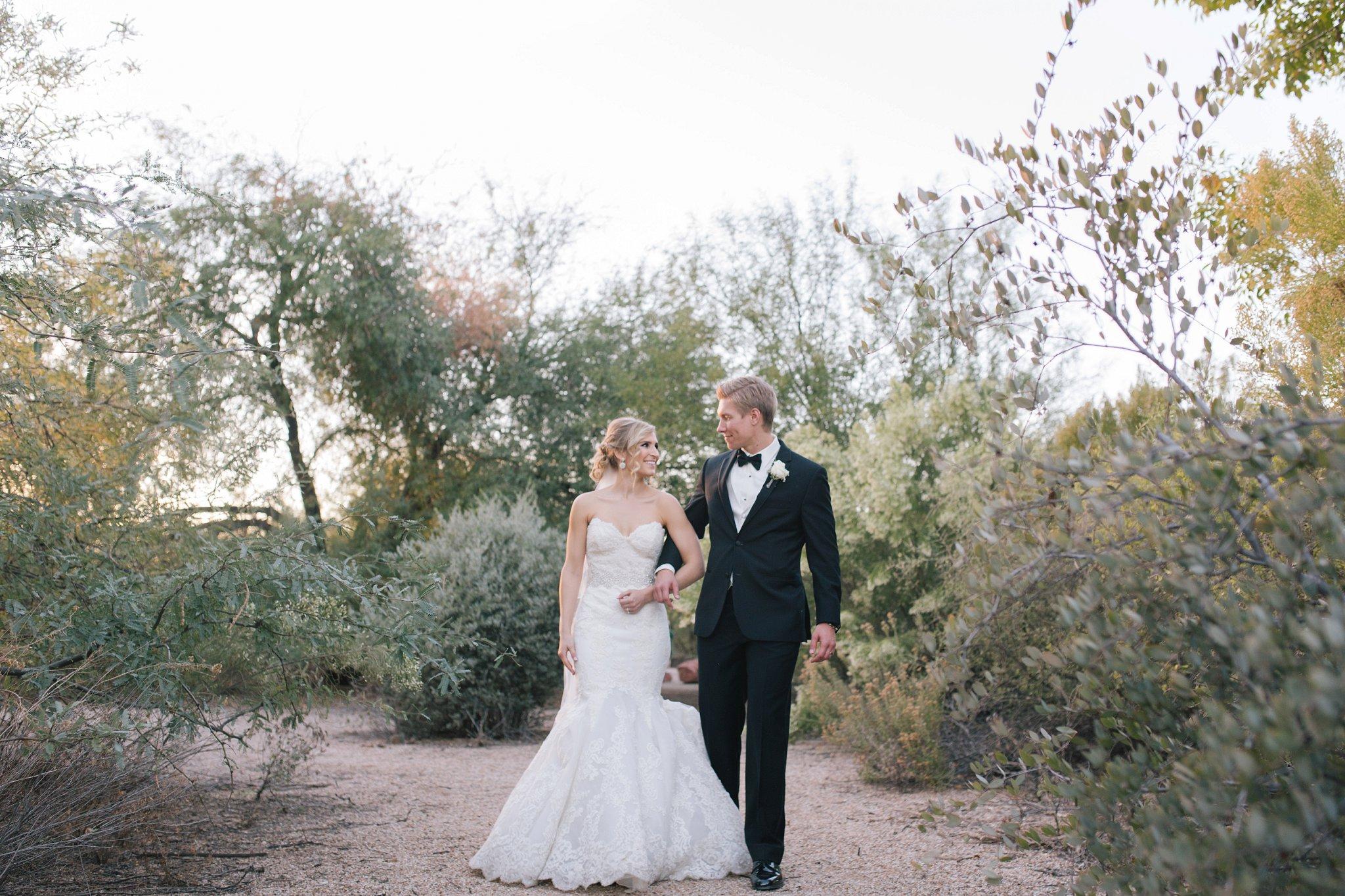 bride & groom in Mesa desert by Mesa wedding photographer
