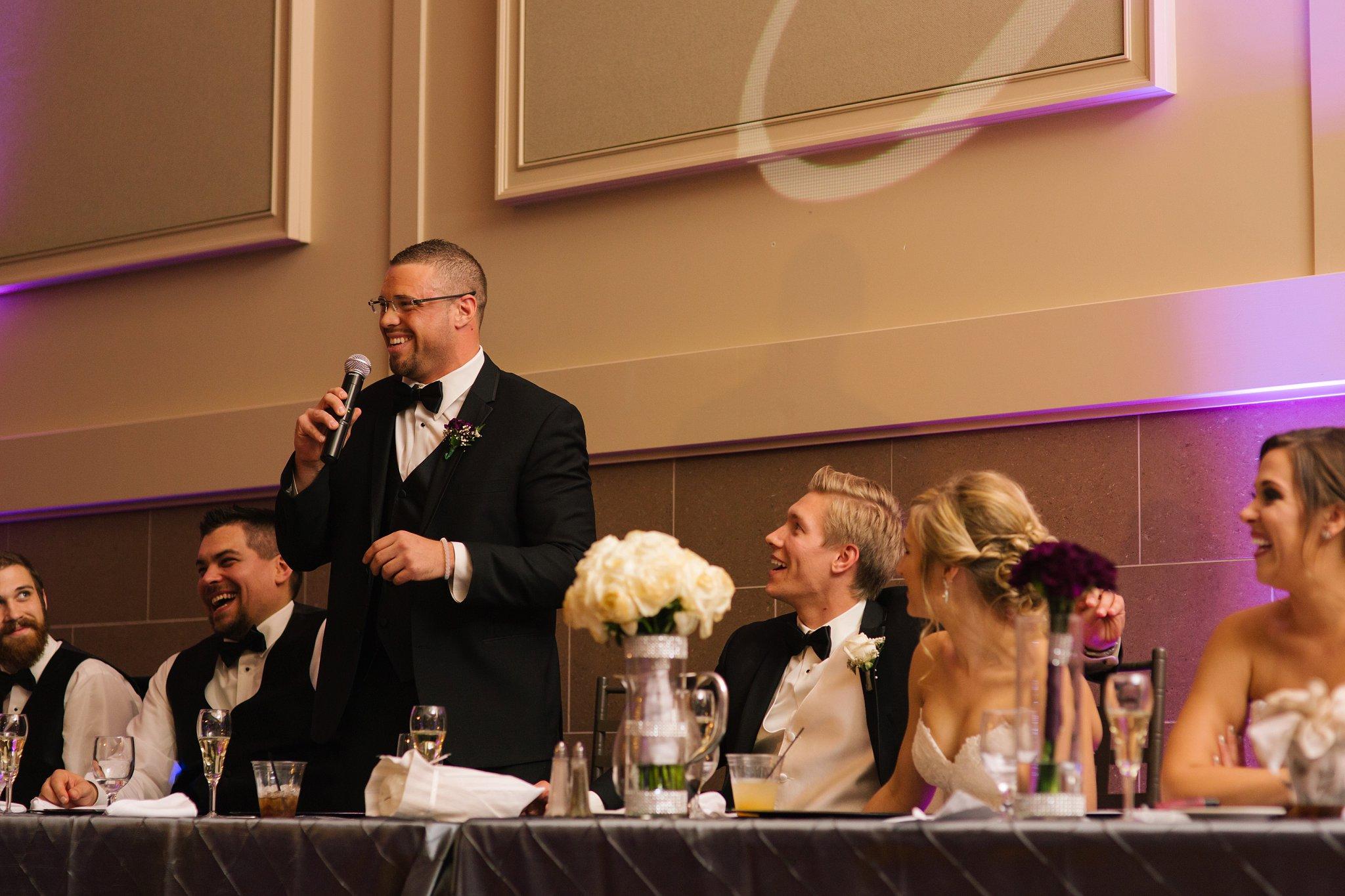 Chandler wedding at Noah's Event Center toasts