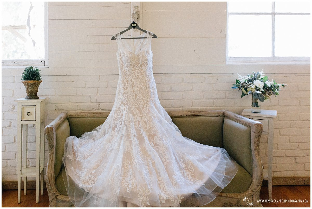 all over lace wedding dress at Windmill Winery wedding in AZ