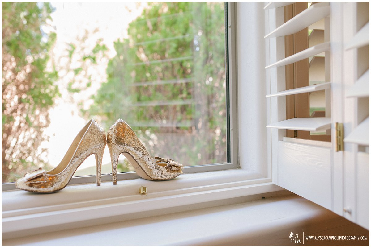 gold glitter wedding shoes on window sill Tempe wedding photographer