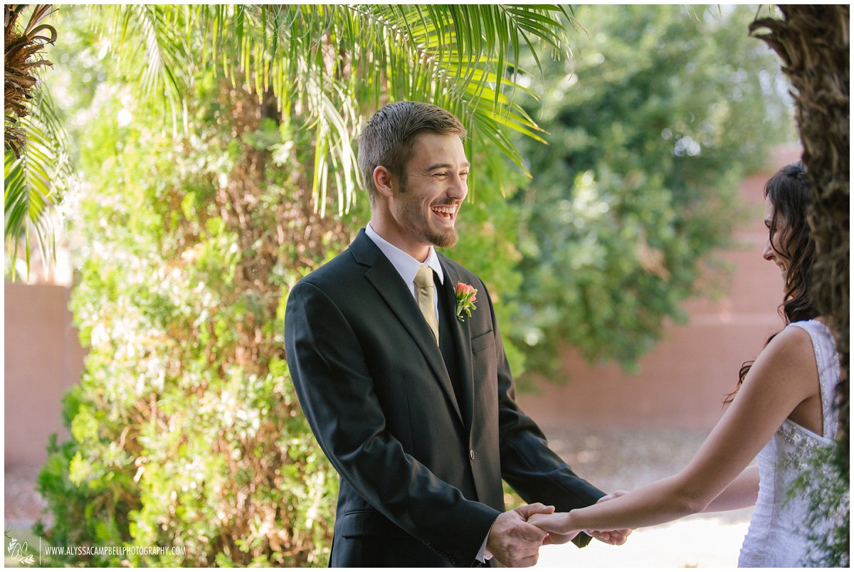 groom seeing bride for first time at Tempe home Tempe Arizona wedding photographer Alyssa Campbell