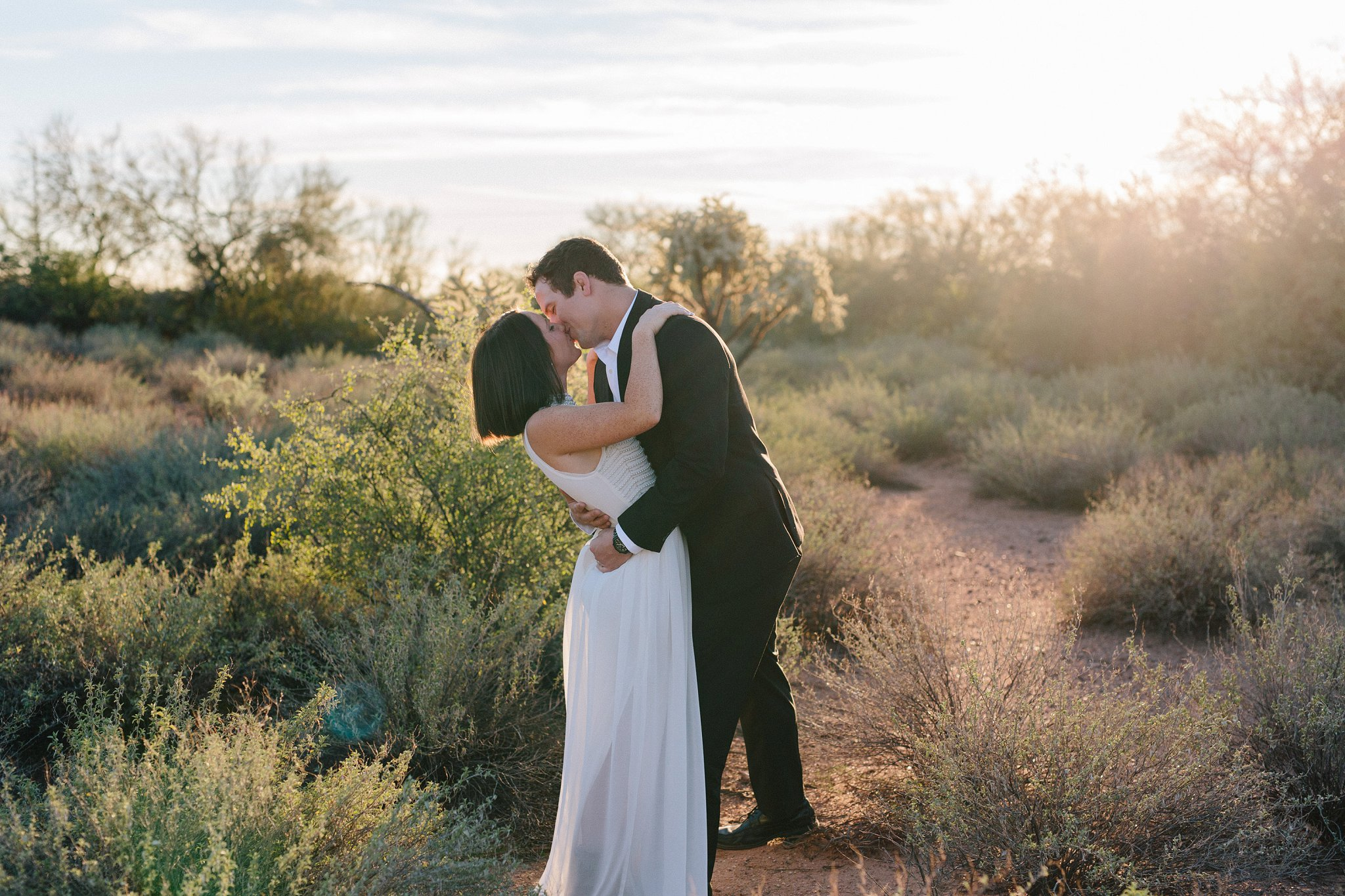 beautiful sunset Arizona desert wedding anniversary photos