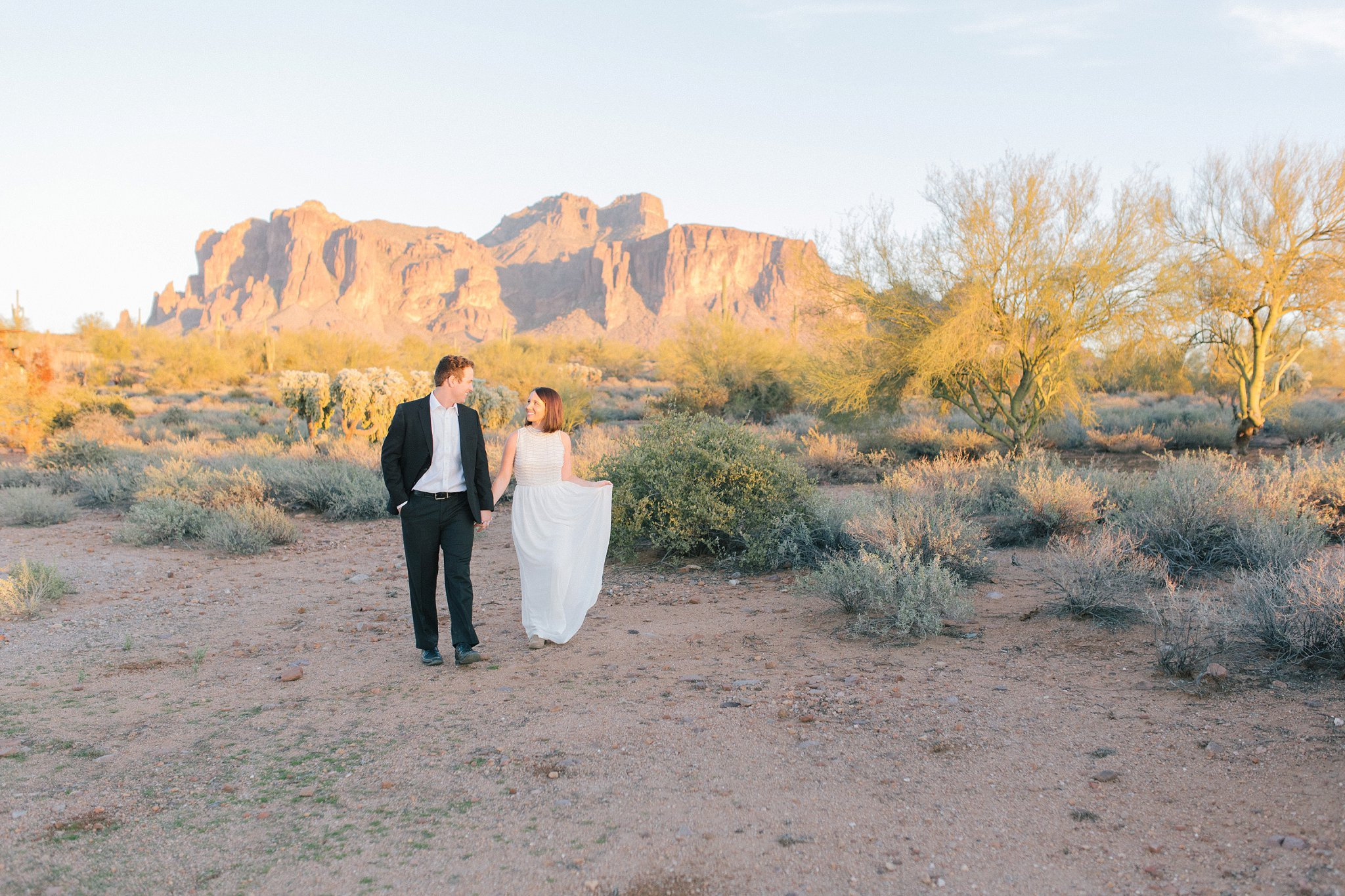 sunset desert elopement photos by Superstition Mountains