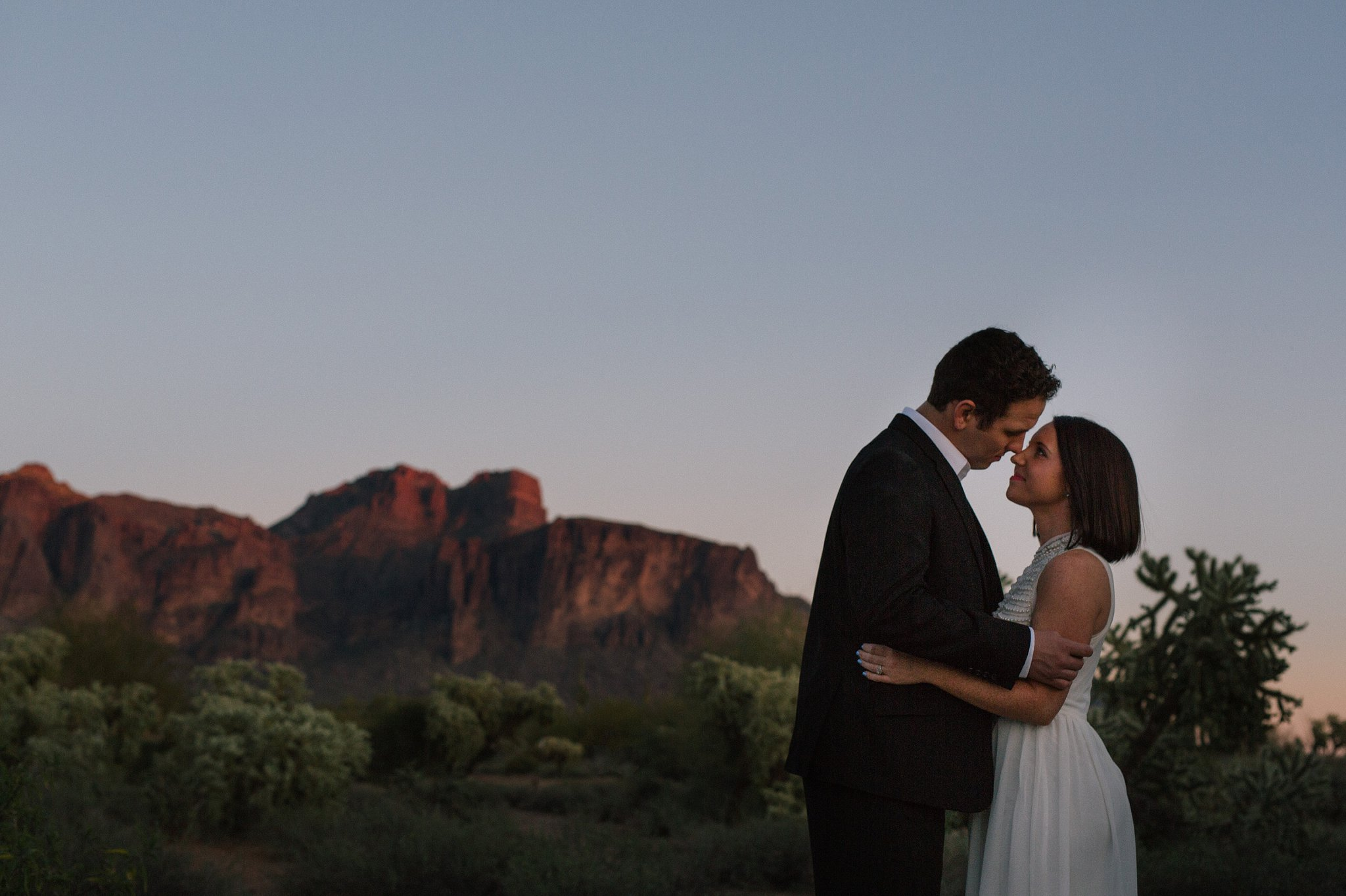 sunset Superstition Mountains elopement photographer in Arizona