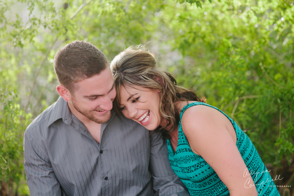 couple laughing together at Desert Botanical Gardens