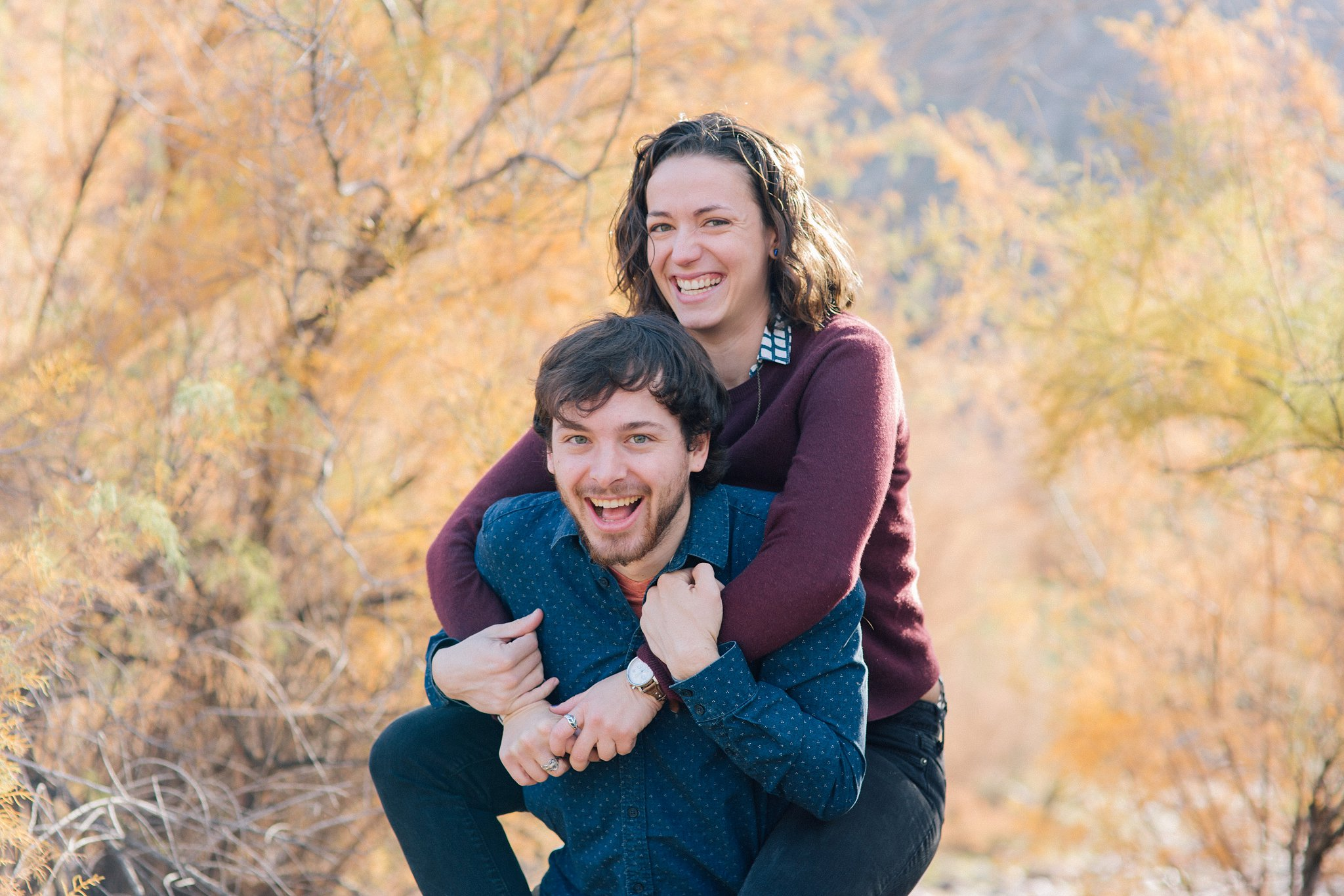 natural candid outdoor nature engagement session in Arizona