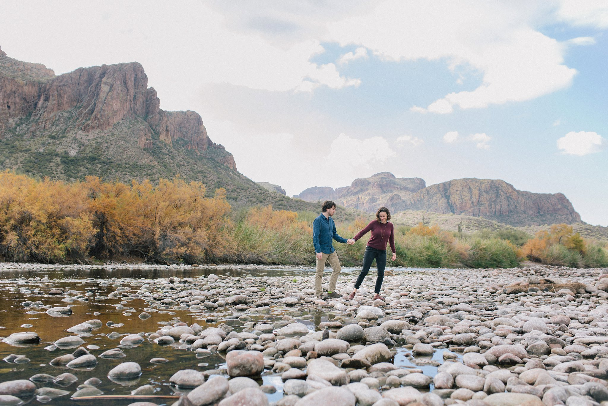engaged couple in scenic Salt River Mesa AZ
