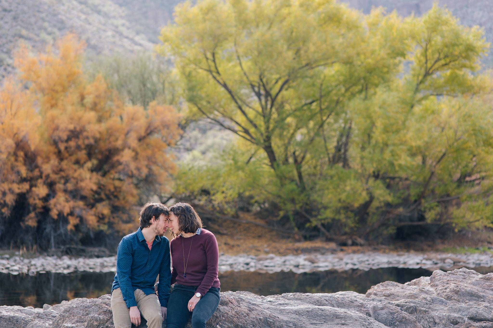 candid documentary engagement session in nature Arizona