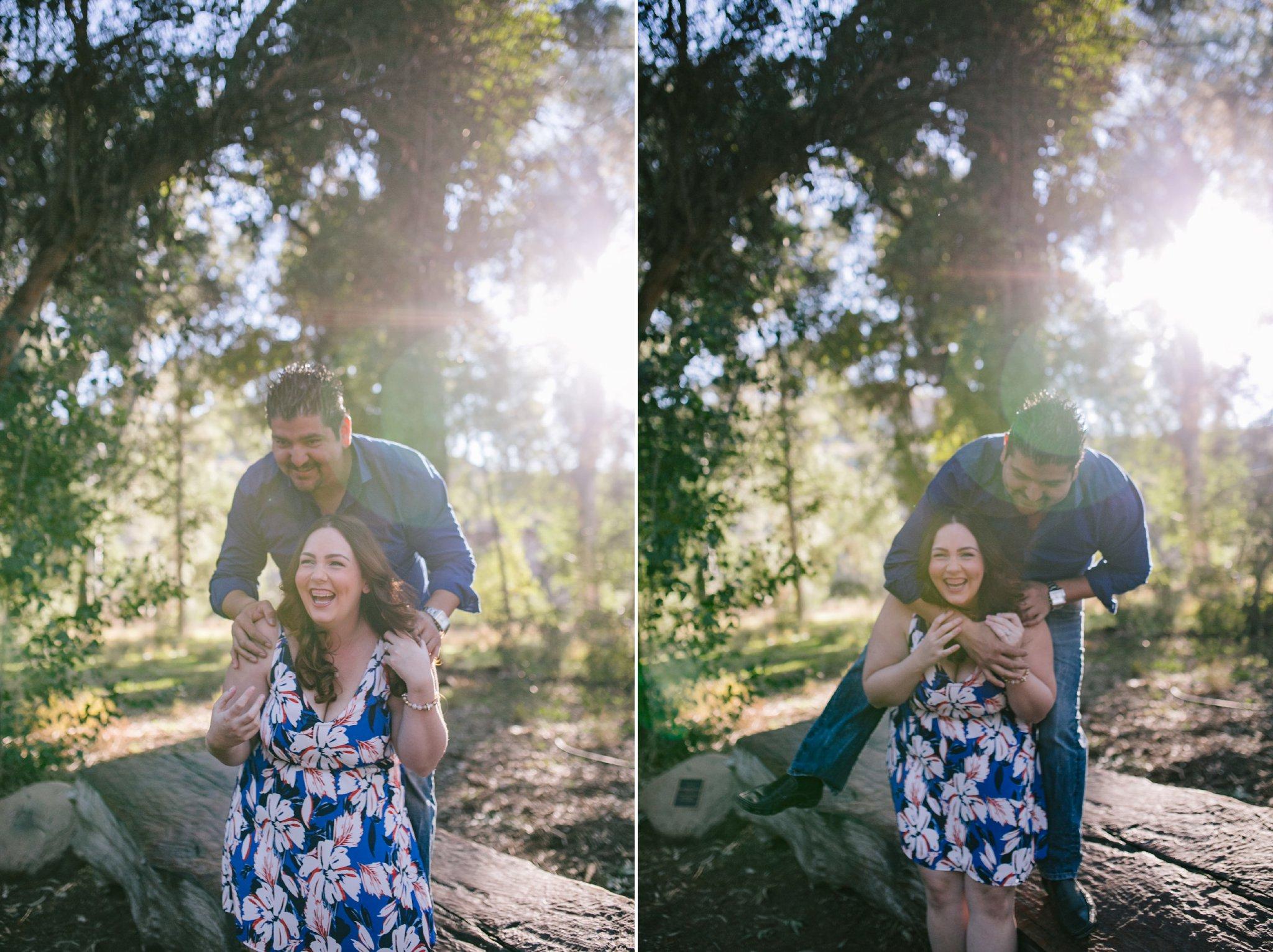 candid playful natural engagement photos at Boyce Thompson Arboretum AZ