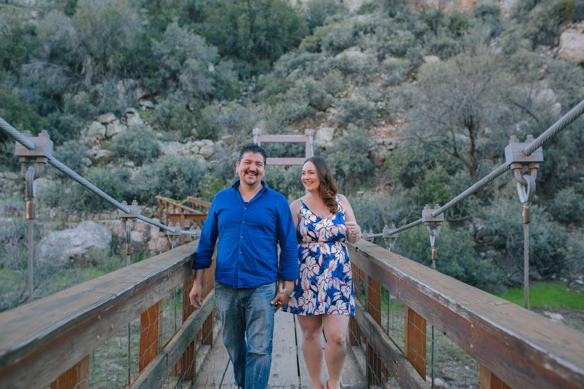 Boyce Thompson Arboretum engagement photos on a bridge