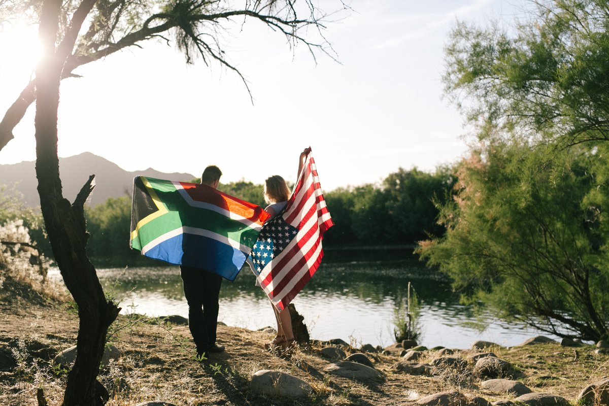 multicultural engagement photos at Salt River Arizona